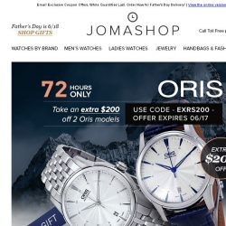 [Jomashop] 72 HOURS: Oris Automatic $200 Coupon • Invicta S1 Watches $59.99 + FS