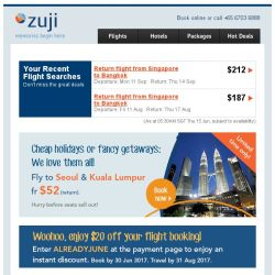 [Zuji] For you only: $20 off + 5% rebate on top of flash sale fares!