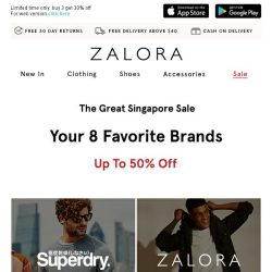 [Zalora] Add to cart: Up To 50% Off Your Top 8 Brands!