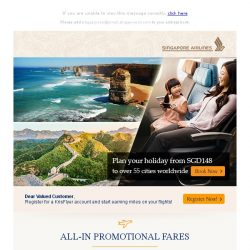 [Singapore Airlines] With fares from SGD148, be spoilt for choice with special fares to over 55 cities