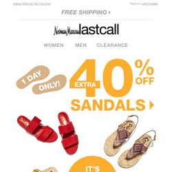 [Last Call] 1 DAY ONLY! Extra 40% off SANDALS
