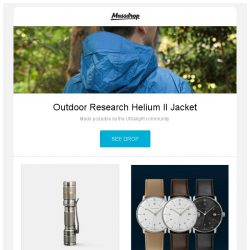 [Massdrop] Outdoor Research Helium II Jacket, Lumintop Ti Tool AAA Titanium Flashlight, Junghans Max Bill Quartz Watch and more...