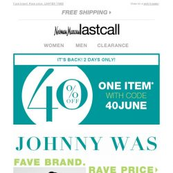 [Last Call] JOHNNY WAS + It's back: 40% off!