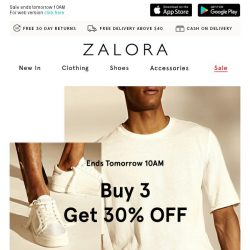 [Zalora] More For Less: Buy 3 Get 30% Off!