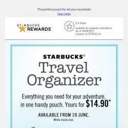 [Starbucks] Limited Edition Travel Organizer - Get yours today