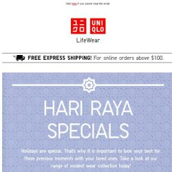[UNIQLO Singapore] Holidays are special. That's why...