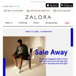 [Zalora] ⚡ The Great Singapore Sale: Extra 18% off your first order!