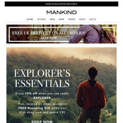 [Mankind] Be an Explorer | 15% off + Free Grooming Gift