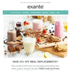 [Exante Diet] Save 45% on Meal Replacements!