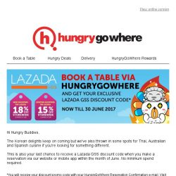 [HungryGoWhere] Last chance to enjoy up to 18% off storewide on Lazada with your booking!