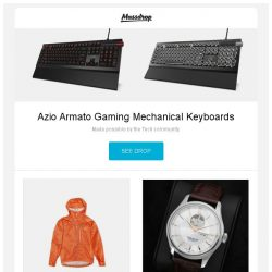 [Massdrop] Azio Armato Gaming Mechanical Keyboards, Rab Men's Flashpoint Jacket, Atlantic Worldmaster Lusso Automatic Watch and more...