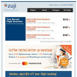 [Zuji] Missed the flash sale? Here's $20 for your next flight!