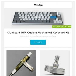 [Massdrop] Clueboard 66% Custom Mechanical Keyboard Kit, Pelikan Souveran M400 White Tortoise, Joshua Dawson Precision Spinning Tops - Design #7 and more...