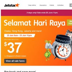 [Jetstar] 🎉 Hari Raya special Weekend Fare Frenzy starts now! Double the happiness this weekend.