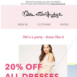 [Miss Selfridge] 20% off all dresses - TODAY ONLY!