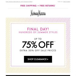 [Neiman Marcus] Final day: 75% off in Clearance