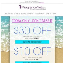 [FragranceNet] It's time for a Sale | $5, $10 and $30 Coupons. (Better hurry!)