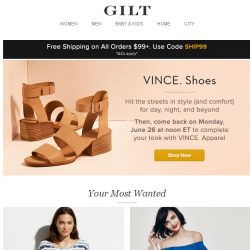 """[Gilt] Up to 70% Off VINCE. Shoes: Literally step into the """"sole"""" of summer. Plus, Grey State, Weekend Rompers: Under $100, Cuisinart: Buy 2+, Get 20% Off and More Start Today at Noon ET"""