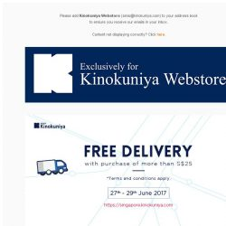 [Books Kinokuniya]  Free Delivery with purchase of S$25 and above on Singapore Webstore, only from 27th to 29th June!
