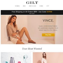 [Gilt] VINCE. Luxe takes on wardrobe staples. Plus, The Skincare Shop: By Category, Jenny Packham, Paulinie Collection for Girls and More Start Today at Noon ET