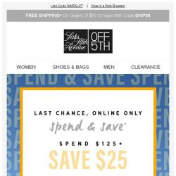 [Saks OFF 5th] Hurry: up to $60 OFF EXPIRES soon!