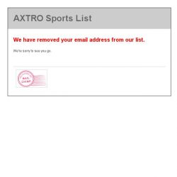 [AXTRO Sports] AXTRO Sports List: You are now unsubscribed