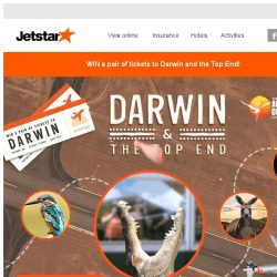 [Jetstar] 3 pairs of tickets to Darwin await you! Are you game?