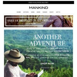 [Mankind] Be Adventurous | 20% off + Free Grooming Gift