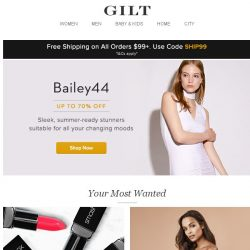 [Gilt] Summer-ready finds by Bailey44. New to Gilt: Smashbox, Blush Lingerie, The St. Regis Boutique: Bedding & Bathand More Start Today at Noon ET