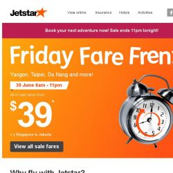 [Jetstar] Missed the last sale? ✈ Book your next getaway with frenzy fares from $39!