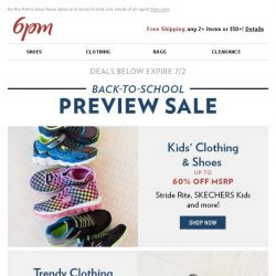 [6pm] Back-to-School Preview Sale!