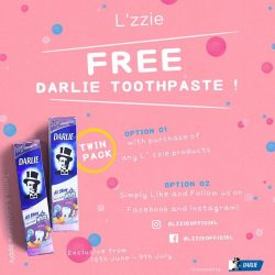 [L'zzie] Redeem one twin pack Darlie toothpaste with any purchase of any L'zzie products at our retail stores and www.