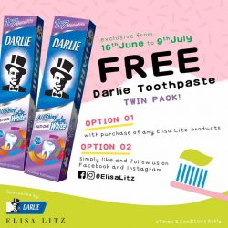 [Elisa Litz] Redeem one twin pack Darlie toothpaste with any purchase of Elisa Litz products at our retail stores and www.