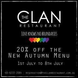 [The Clan Restaurant] In anticipation of pinkdot singapore, we'll be showing our love for fair and equal rights with a 20% discount
