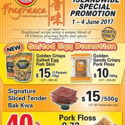 [Fragrance Bak Kwa] Island-wide Special Promo from 1st to 4th of JuneSalted Egg Fish Skin at $15 for 3 packs (usual $