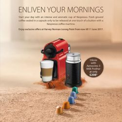 [Harvey Norman] Exclusive Nespresso offers at HarveyNormanSG Jurong Point, now till 11 June 2017.