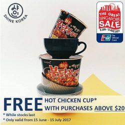 [Shine Korea] Redeem a FREE* hot chicken cup when you shop with us this GSS!
