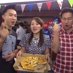 [Pizza Hut Singapore] That certainly looks like an Amazing Pizza Party, where Tanglin casts Nat Ho 鶴天賜 and Charlie Goh (吴清樑) met up with their