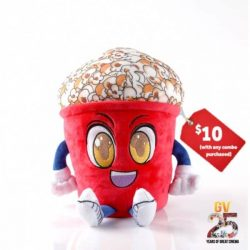 [Golden Village] Bring home our adorable 😍 Mr Popcorn 2-in-1 travel pillow for only $10 with any combo purchased.