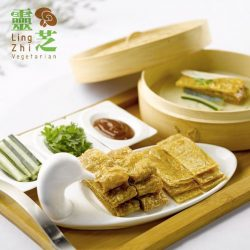 [Tung Lok Seafood] LingZhi Vegetarian's NEW MENU includes this delectable Vegetarian Goose and Crispy Beancurd Skin served with fragrant Pancake.