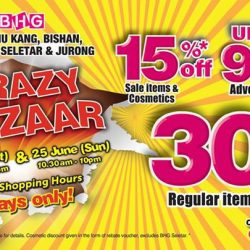 [BHG Singapore] Get ready for a shopping spree at our CRAZY BAZAAR starting TOMORROW 24 & 25 Jun (sat & sun)!