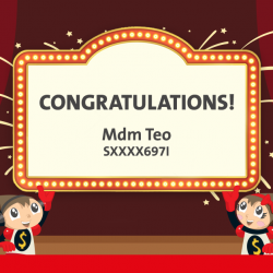 [OCBC ATM] Congratulations to Mdm Teo, the winner of a birthday party planning package!