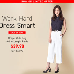 [Uniqlo Singapore] Upgrade your work wardrobe with our Women's Drape Wide Leg Ankle Length Pants!