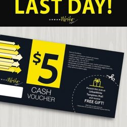 [URBANWRITE] LAST DAY for UrbanWrite $5 Cash Voucher redemption!