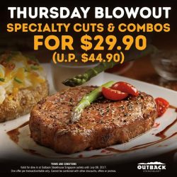[Outback Steakhouse ] Looking for the best deal on Thursday?