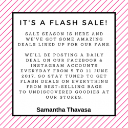 [Samantha Thavasa] We've got some amazing treats lined up for our Facebook fans next week, so stay tuned to our page