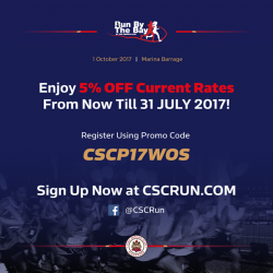 [World of Sports] CSCRunByTheBay2017 is back once again this October, with 21KM, 10KM, 5KM and 1KM race categories for the whole family!