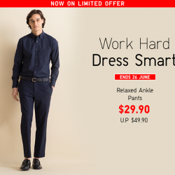 [Uniqlo Singapore] Our Men's Relaxed Ankle Pants are versatile and comfortable.