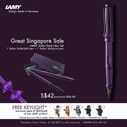 [VivoCity] This Great Singapore Sale, own a LAMY Safari Dark Lilac Special Gift Set at only $42 (U.