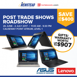 [Newstead Technologies] Join us this coming Monday at our Post Trade Shows Roadshow @ Causeway Point Main Atrium, Level 1, from 26 June -